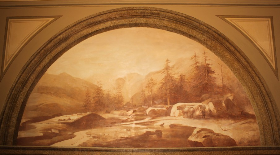 Old mural mountain scene