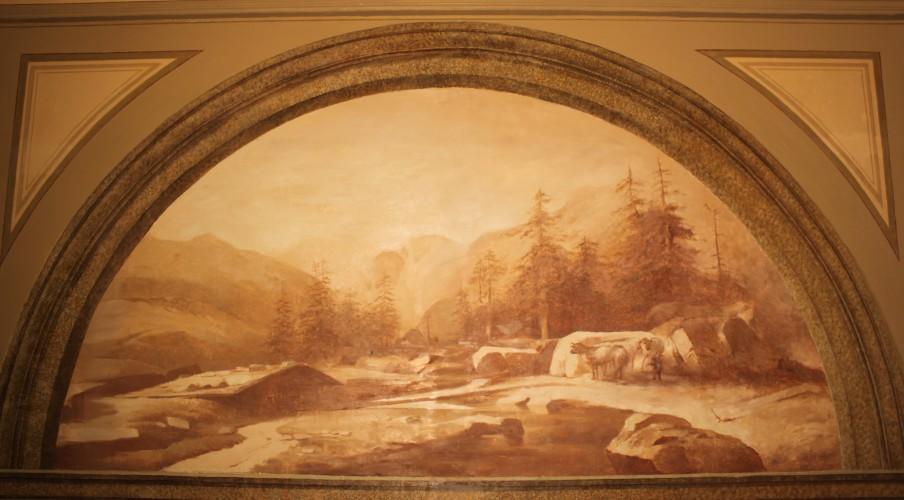 Старая фреска гора сцена