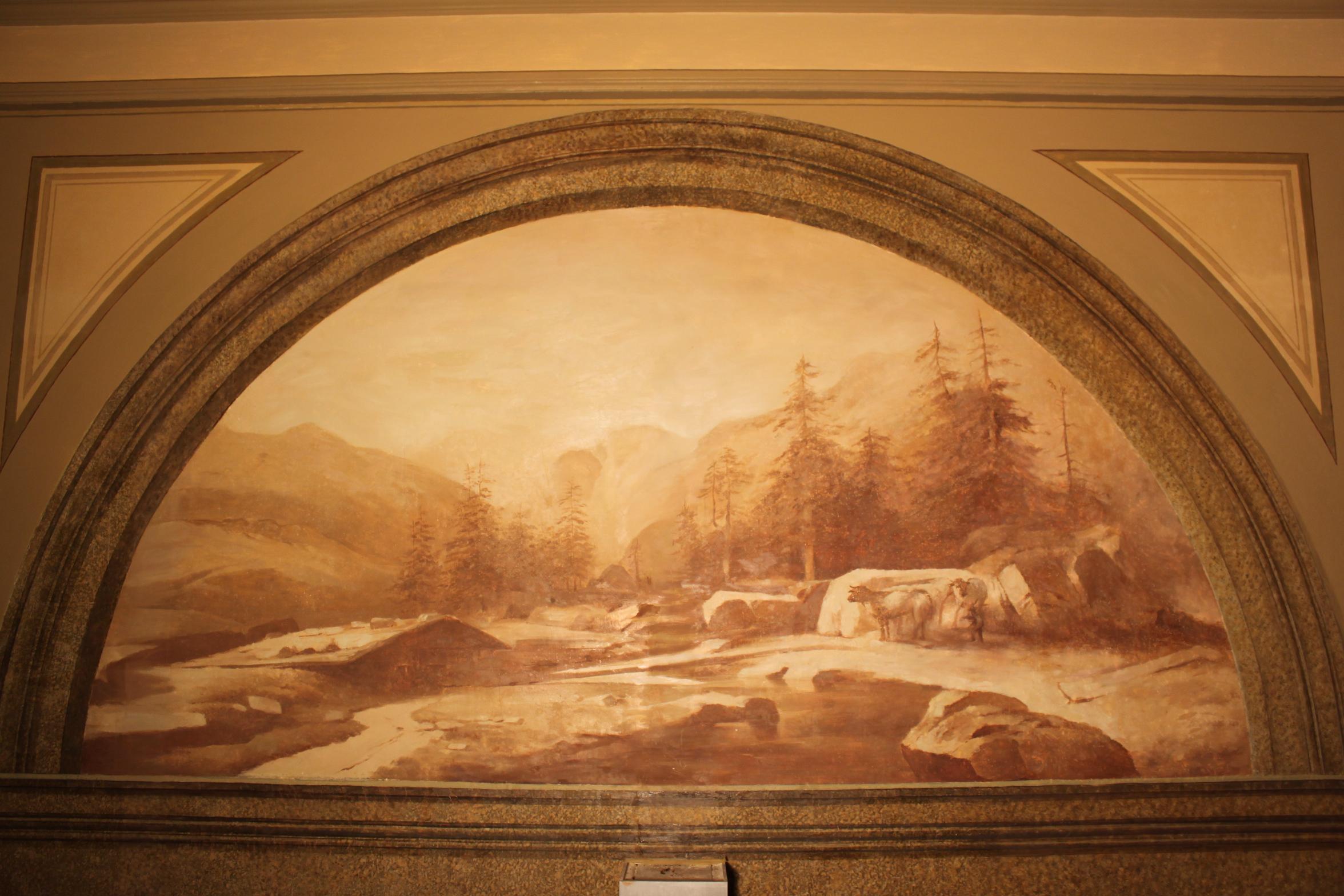 Old mural mountain scene