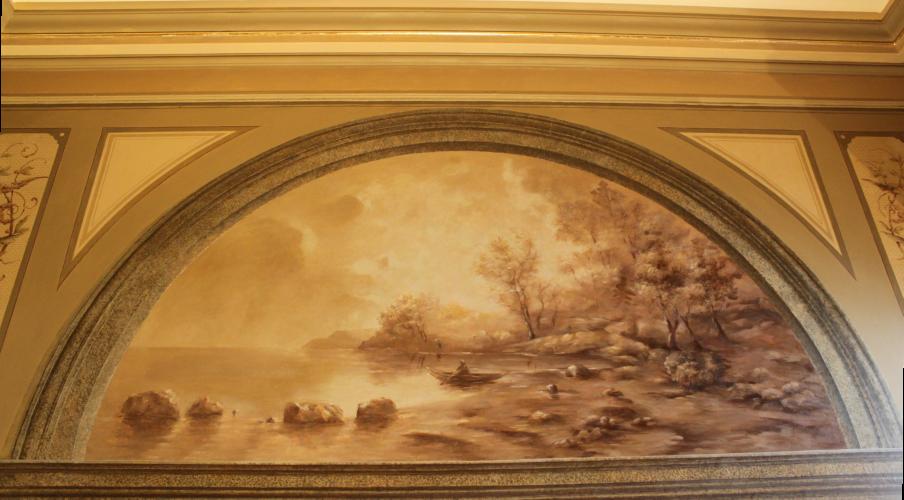 Старый настенная озеро сцены