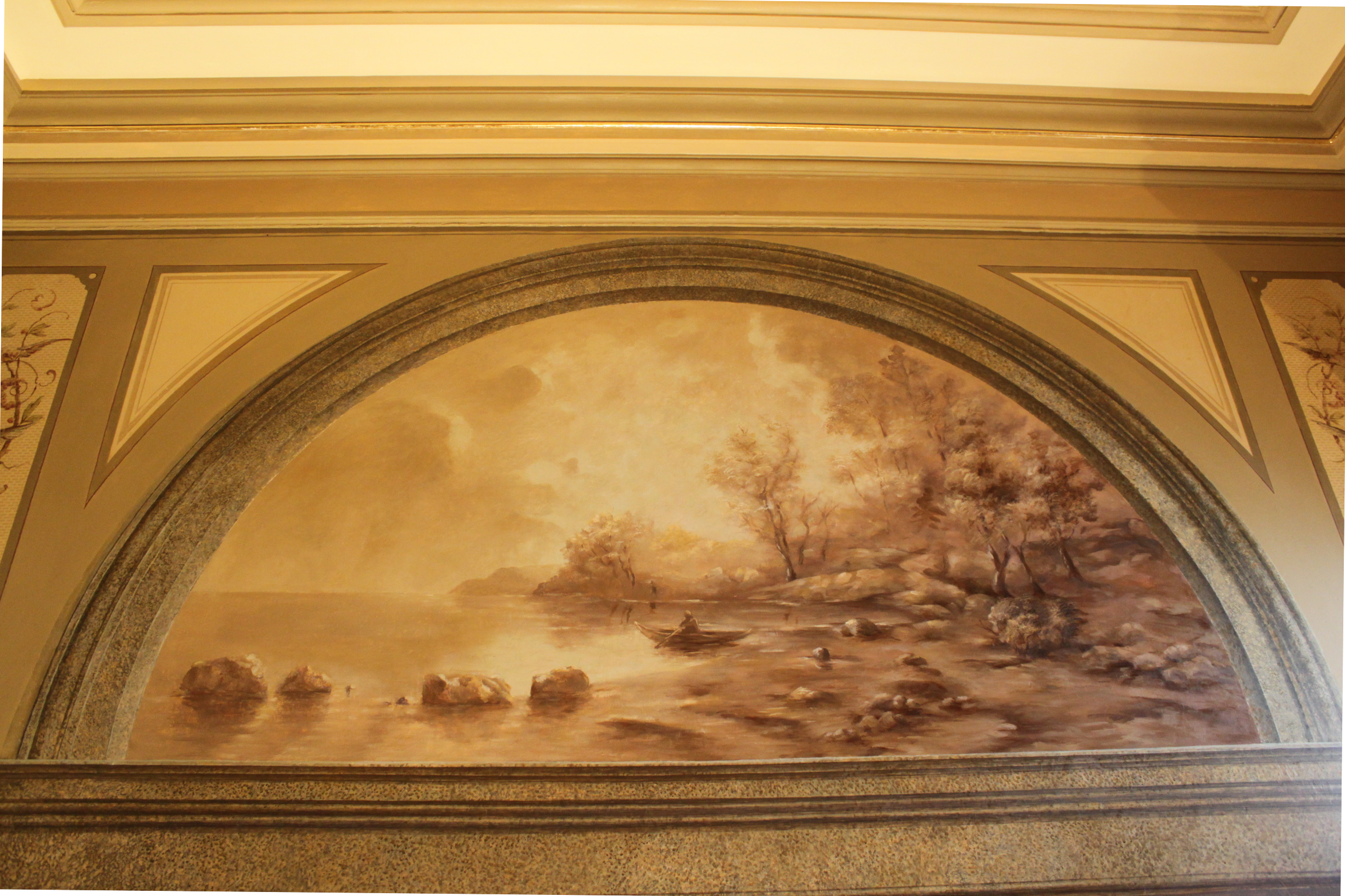 Old mural lake scene